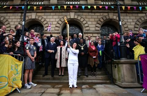 TORCHBEARER Roseann Hollis from Hoddlesden outside Blackburn town hall