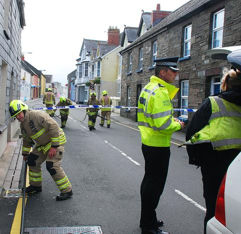 Emergency services were called to Fishguard this morning following reports of a gas leak. Pic: Johnny Morris