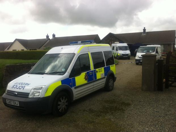 Police at the property in Hayscastle Cross.