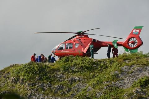 Wales Air Ambulance rescue a man with a broken leg at Bosherston. PICTURE: Jim Young