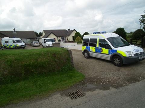 Police at the scene of a sudden death in Hayscastle Cross