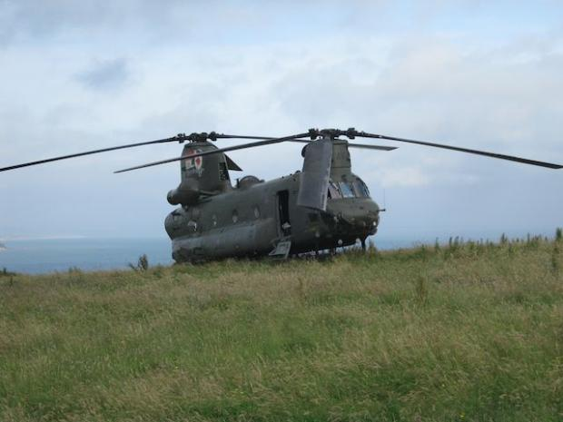 The Chinook which landed near Amroth.