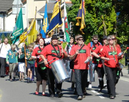 Samba Doc lead the Narberth Civic Parade on Sunday July 22nd.