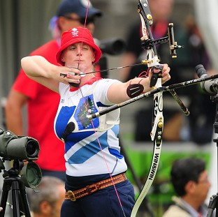 Naomi Folkard, pictured, suffered defeat in the round of 32 in the individual archery event