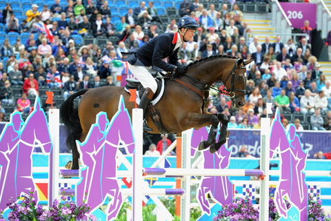 William Fox-Pitt in action during the showjumping phase of the three-day event
