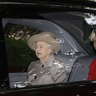 The Queen leaves after the Sunday service at Crathie Kirk near Balmoral Castle