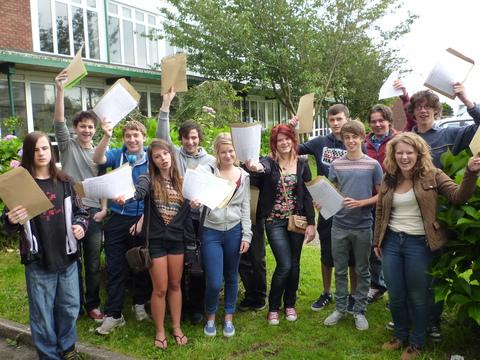 Pupils at Fishguard's Ysgol Bro Gwaun celebrate great GCSE results