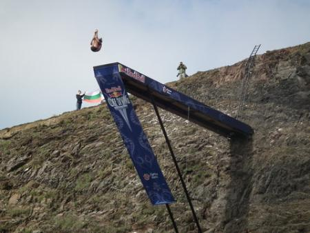 Red Bull World Series Cliff Diving at the Blue Lagoon, Abereiddy, Pembrokeshire.