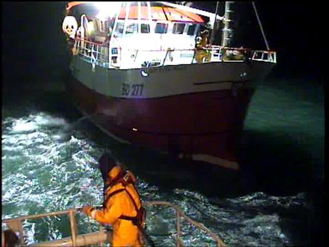 Tenby lifeboat was involved in a six hour rescue this morning when the Olivia Bell (pictured) lost her steering.