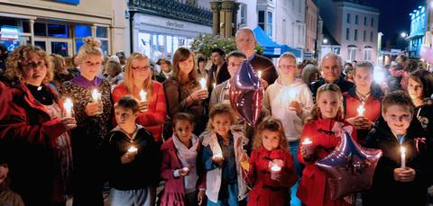 Around 200 people gathered in Tenby for a candlelit vigil for April Jones PICTURE: Gareth Davies Photography