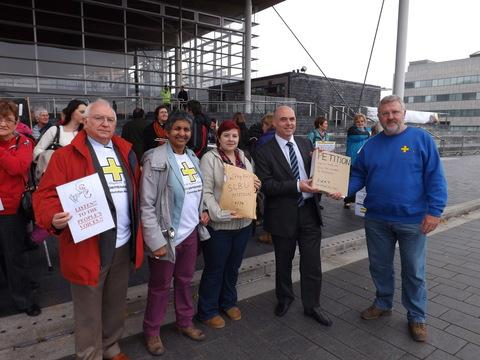 SWAT vice chairman Glan Phillips, Pratibha Kanse, Liz Butland, Paul Davies AM and SWAT chairman Chris Overton at the Senedd