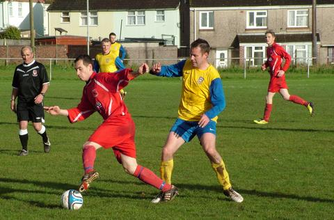 Milford United on the attack at Marble Hall against Penclawdd. The Robins dramatically won on penalties. Picture: Ian Ashworth.