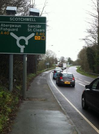 Queues at the Scotchwell Roundabout in Haverfordwest following the closure of the A40.