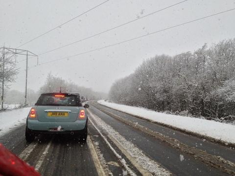 SNOW IS FALLING: The A40 near Pengawse hill, which was closed temporarily for gritting and ploughing