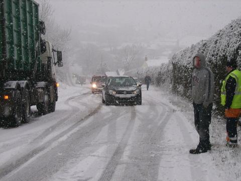 Terrible driving conditions near Eglwyswrw on Wednesday.