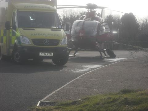 Wales Air Ambulance conveyed an elderly woman from St Davids to have specialist surgery at Morriston Hospital
