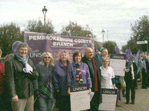 Union members lobby Pembrokeshire County Councillors over controversial pay review