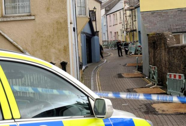 Police have sealed off the area around Cresswell Street, Tenby. PICTURE: Gareth Davies Photography.