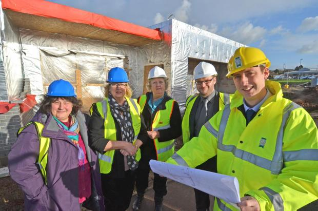 ON SITE: (L-R) Clare Cox, Flying Start programmes manager, Cllr Susan Perkins, Liz Davies, head of Meads Infant and Nursery School, Matthew Evans - WJG Evans & Sons Construction, and Edward Wheeler, project architect, Pembrokeshire County Council.