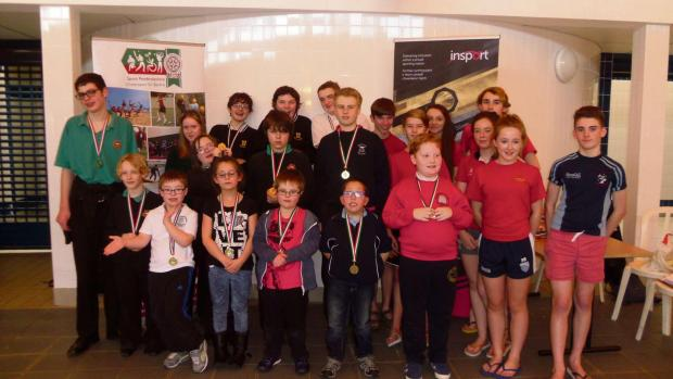MAKING A SPLASH: Pupils who took part in the Pembrokeshire Schools disability swimming gala at Fishguard Leisure Centre last week. (3722940)