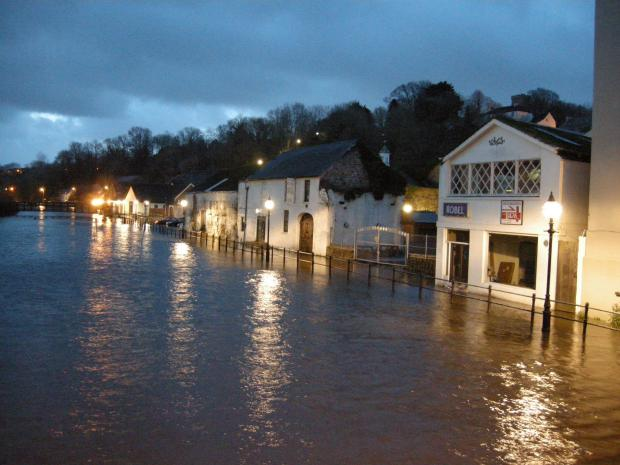 Western Telegraph: Flooding in Haverfordwest, earlier this month.