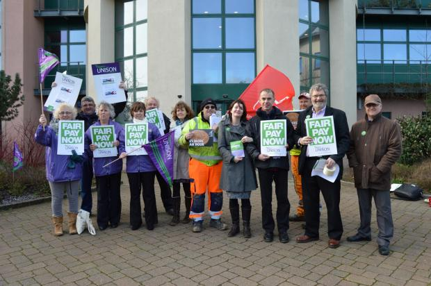 UNITED: Members of the Unite and Unison trade unions made a stand outside County Hall on Tuesday  PICTURE: Western Telegraph  (3817972)