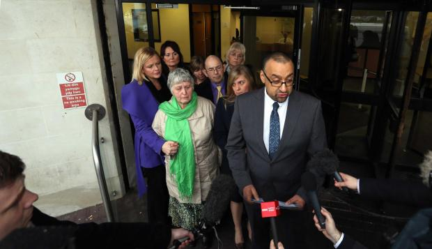 The family of Joanna Hall read a statement outside Swansea Crown Court. PICTURE: Athena Picture Agency.