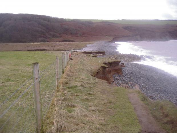 DAMAGE: An example of the storm damage at Abermawr. (3883518)