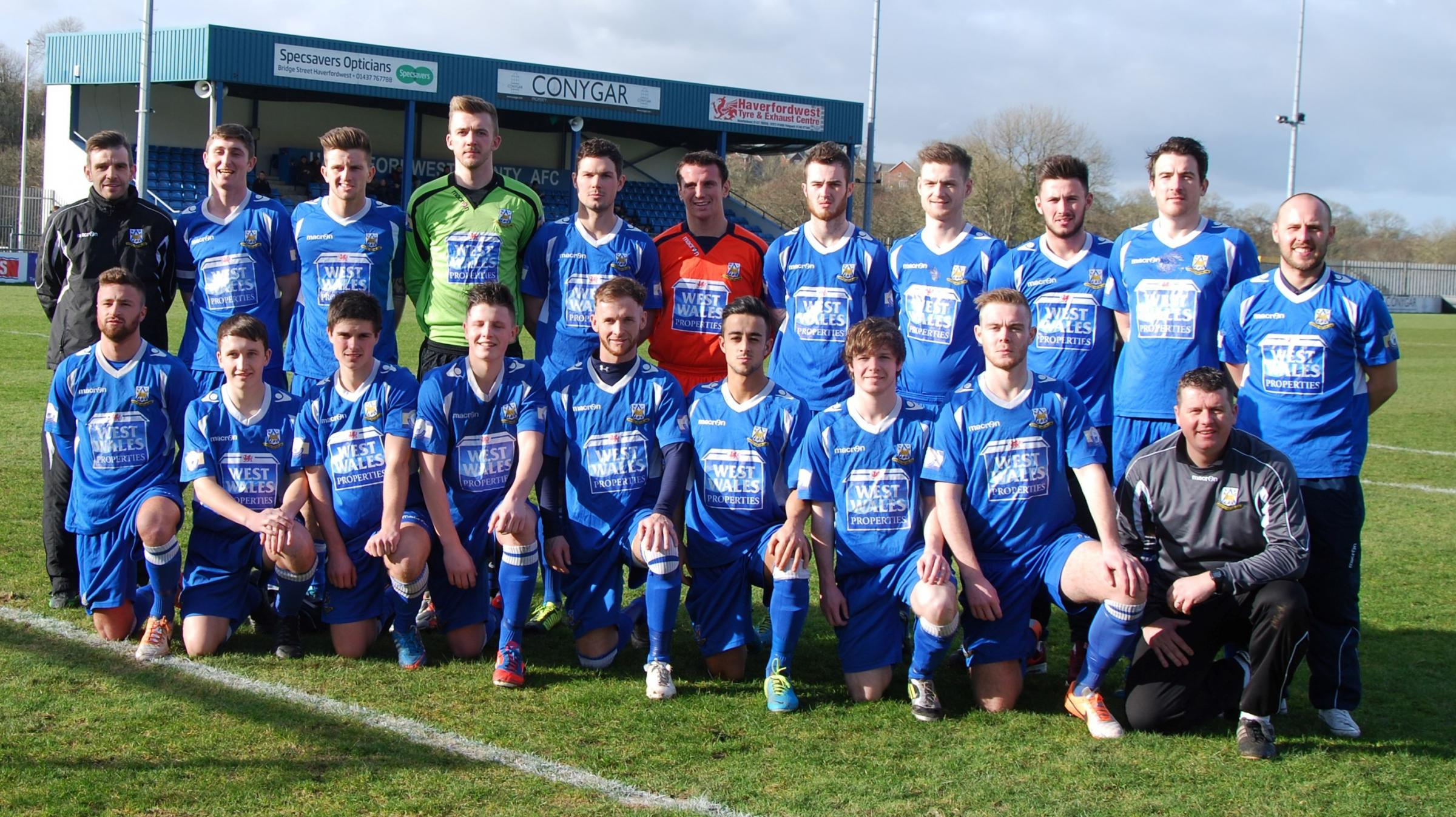 IN THE PICTURE: Haverfordwest County are pictured before losing at home to Aberdare Town. PICTURE: Kevin Bryce. (4056806)