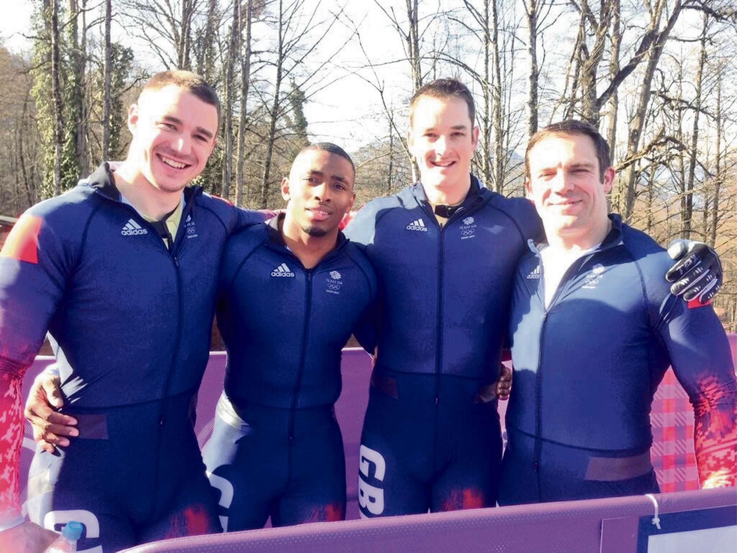 SUPERB QUARTET: GB four-man bobsleigh team who finished fifth in Sochi were Bruce Tasker, Joel Fearon, Stuart Benson and pilot John Jackson. (4233785)