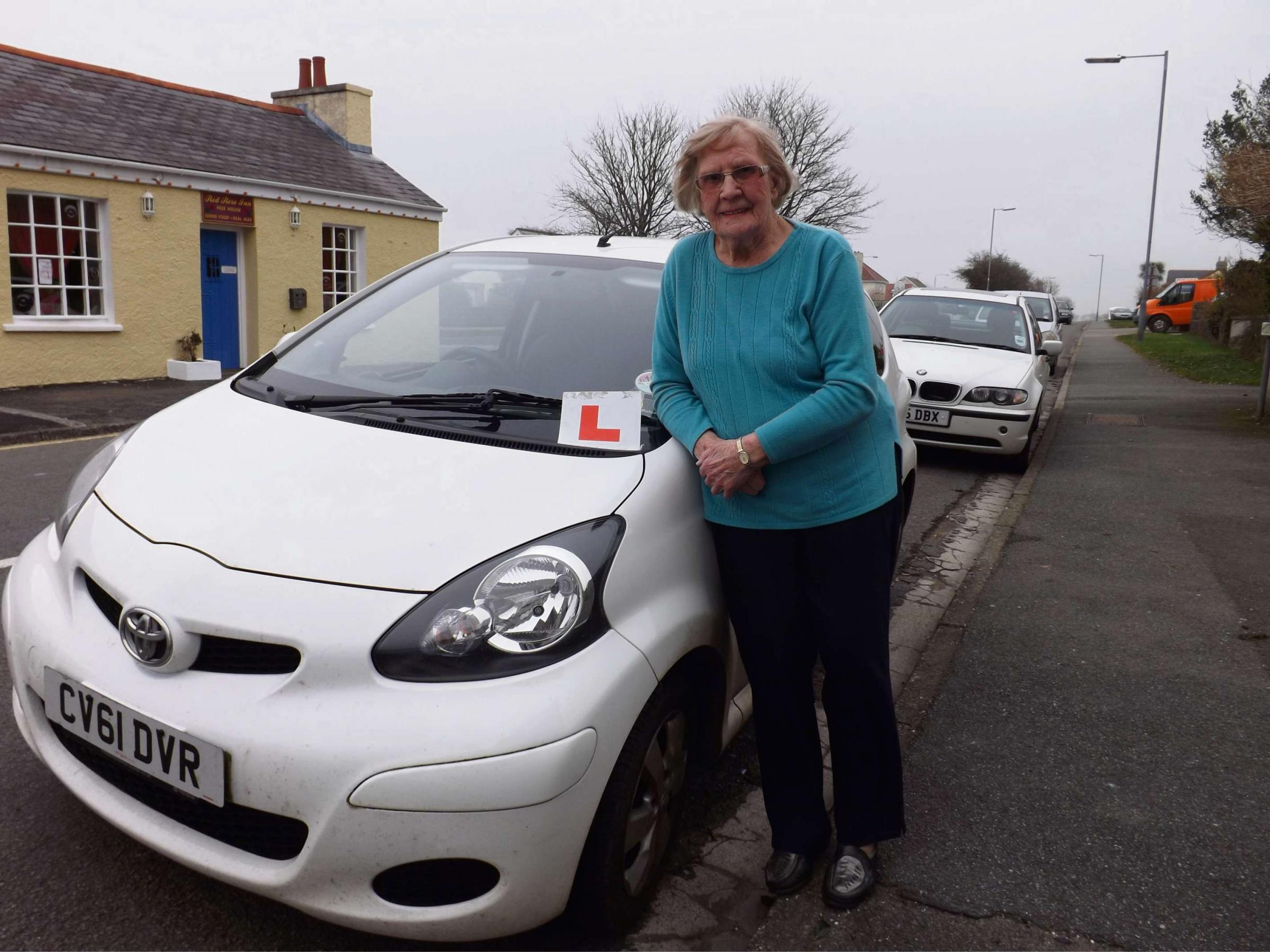 Laura Thomas, who is still teaching people to drive aged 94. PICTURE: Western Telegraph.
