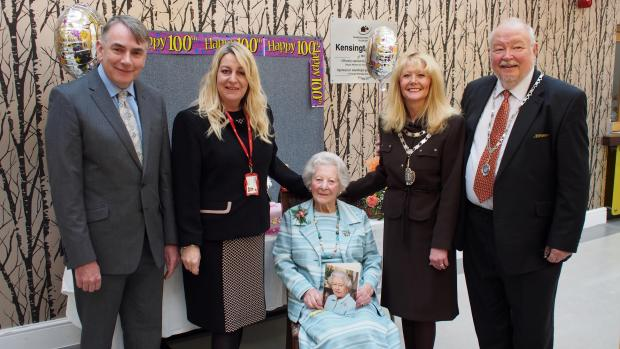 CELEBRATING 100 YEARS: Graham Holmes, Pembrokeshire Housing Karen Brown, Kensington Court scheme manager, Miss Nancy Llewellyn, Mayor Cllr Yvonne Southwell, and Mayor's consort Ron Southwell. PICTURE: Western Telegraph
