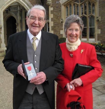 Malcolm Green, pictured after being presented with his MBE, with his wife Janet.