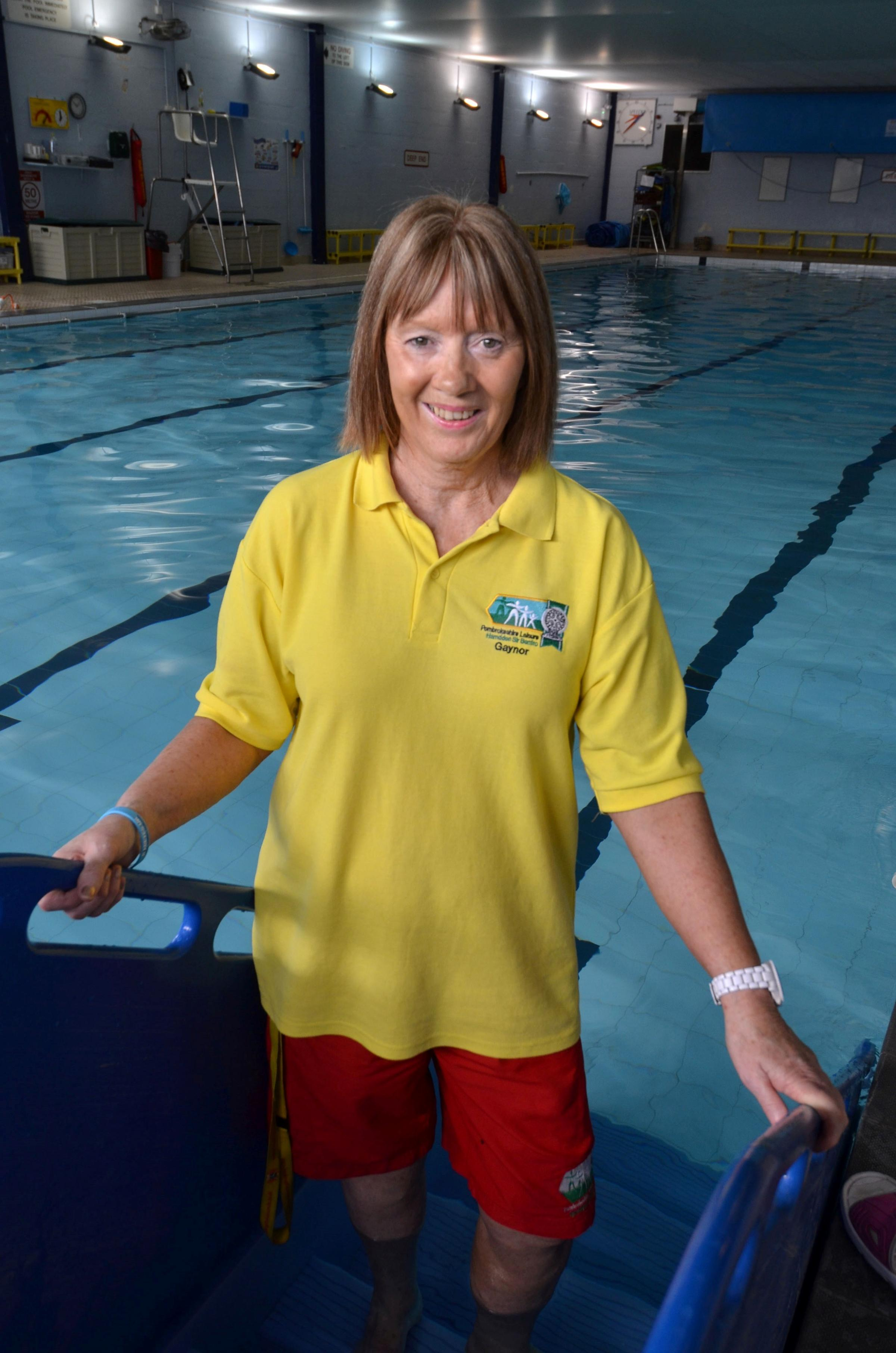 WAVE GOODBYE: Popular lifeguard and swimming teacher Gaynor Almond is retiring as lifeguard at Milford Haven Leisure Centre. (5512264)