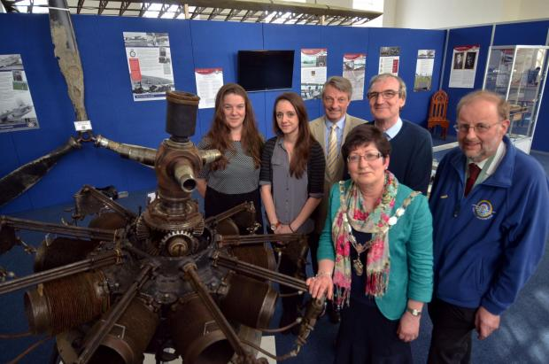 FLYING HIGH: Pembroke Dock mayor Cllr Jane Phillips with Sunderland Trust team members Eleanor Evans, Alex Davies, trustee Phil Thompson, Mark Pittman and John Evans.  PICTURE: Martin Cavaney.   (5479440)