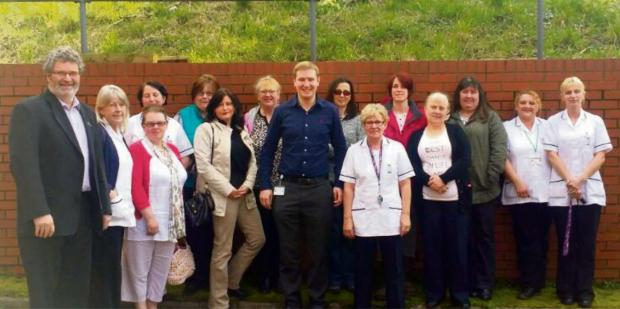 THE TIME IS NOW: Cllr Paul Miller launches Time to Care Pembrokeshire with Home Care workers in Pembroke Dock. (5538713)