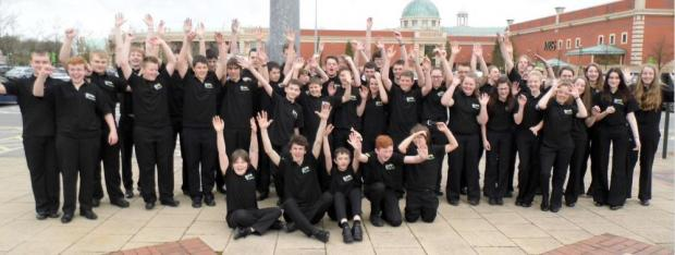 CELEBRATING SUCCESS: The new British youth champions, Pembrokeshire Schools Brass Band