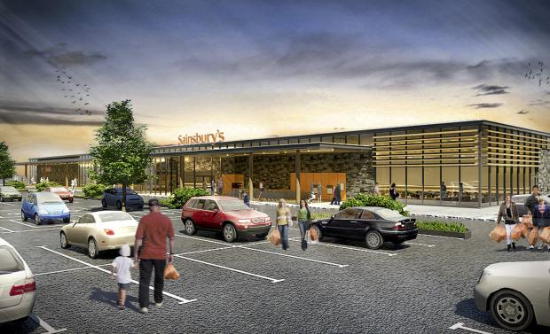 An artist's impression of the planned Haverfordwest Sainsbury's store.