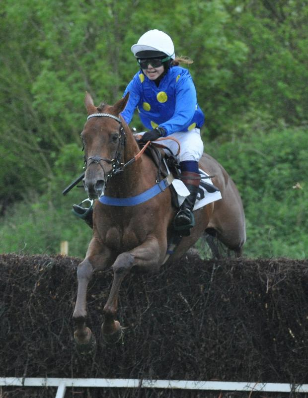 Western Telegraph: FIRST WIN: - Steph Rogers winning the Members Race on Teenage Kicks at Trecoed on Sunday. PICTURE: Alun Sedgmore Sporting Prints. (6529076)