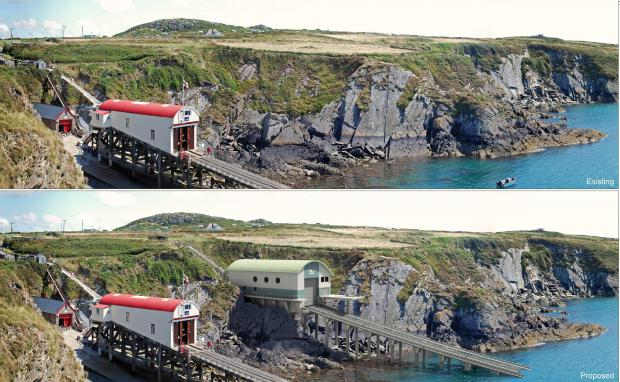 Western Telegraph: OLD AND NEW: A photo montage of how the new lifeboat station will look at St JustiniansPICTURE: St Davids RNLI