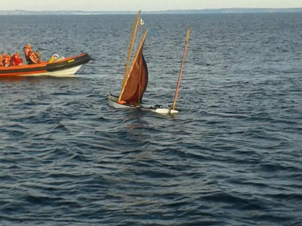GOING DOWN: The sinking sailing boat just outside of Porthclais Harbour.PICTURE: St Davids RNLI