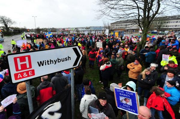 There have been protests over service changes at Withybush Hospital