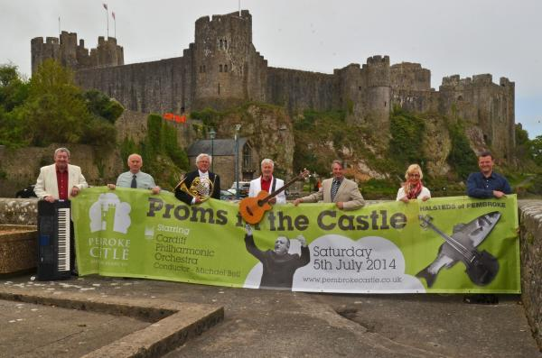 PROMS IN THE CASTLE: Brian Jobson, Dave Halsted, Allan Jones (CPO), Phil Thompson, Janette Halsted and Pembroke Castle manager Jon Williams.
