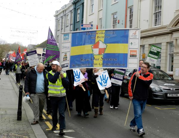 A previous public sector strike march through Haverfordwest.
