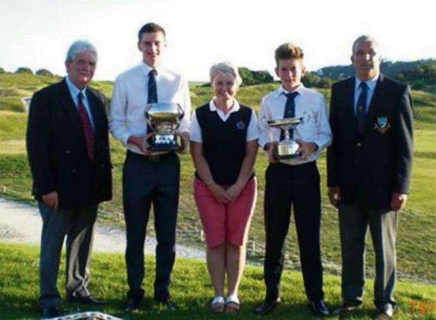 PRIZE WINNERS: Tony Key OBE, Jack Harries (Best Nett), Elaine Rees DGU Comp/Match Secretary), Luke Harries (County Champion), David Blackmore (DGU President). (7844207)