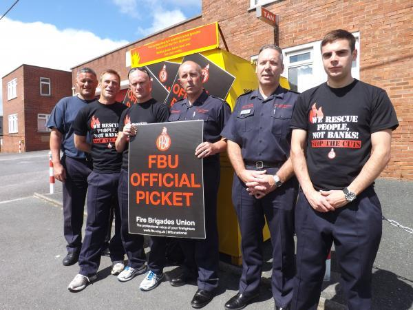 Firefighters are among those on strike today in a day of public sector action that has also hit schools and council services.