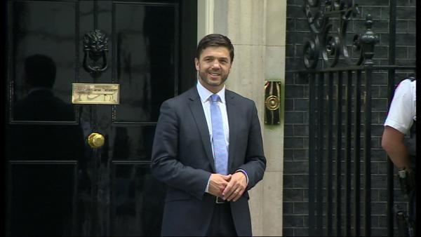 Stephen Crabb MP outside No10 Downing Street following his promotion. PICTURE: BBC.