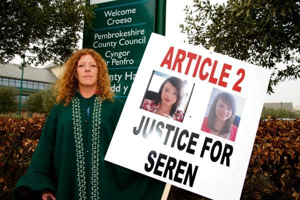 Seren's mum, Sarah Pollock calls for answers into her daughter's death outside County Hall, Haverfordwest.