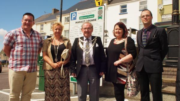 Cllr Guy Woodham, Mayor Cllr Eric Harries and Consort Lynwen Harries, Lynne Turner of Milford Haven Business Circle, new market manager Byron Jenkins.