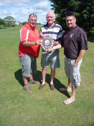 SENIORS TEXAS SCRAMBLE: Winners Brian Johnson and Rob Evans with captain Bob Stokoe. (8277231)